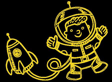 Astronaut mit Rakete